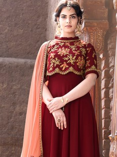 Trendy Embroidery Maroon Colour Suit