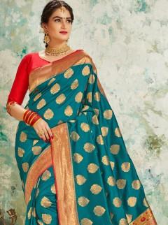 Trendy Rama Colour Silk Saree