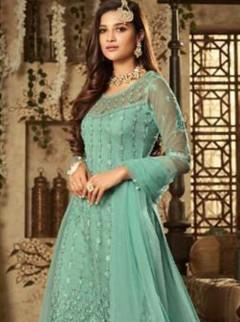 Wonderful Turquoise Net Designer Suit